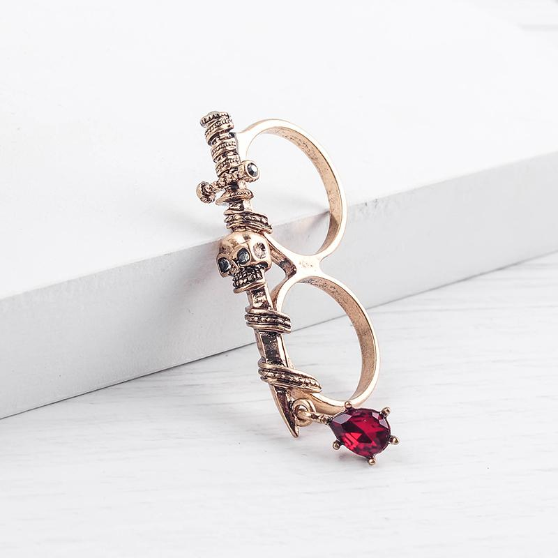 Punk Style Ancient European Gothic Sword Skull Vintage Gold Color Double-finger Rings For Rock Women Fashion Jewelry Wholesale