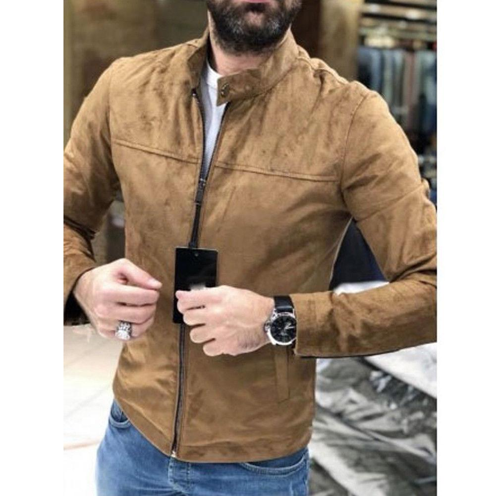 Dropshipping New Winter Suede Coat Slim Fit Jackets Mens Casual Warm Outwear Jacket Men Solid Warm Pea Coat Size M-3XL