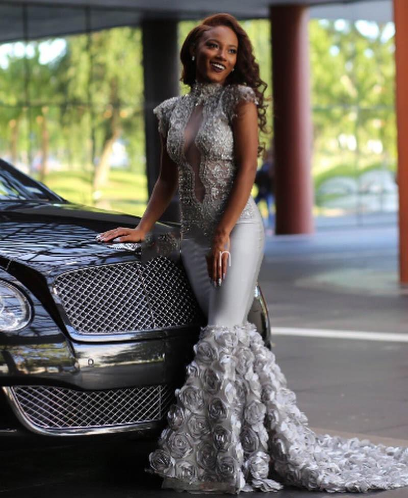 Elegant Silver Mermaid Prom Dresses For Black Girls High Neck Lace Appliques Beads With 3D Flowers Satin Illusion Evening Gowns DP0357