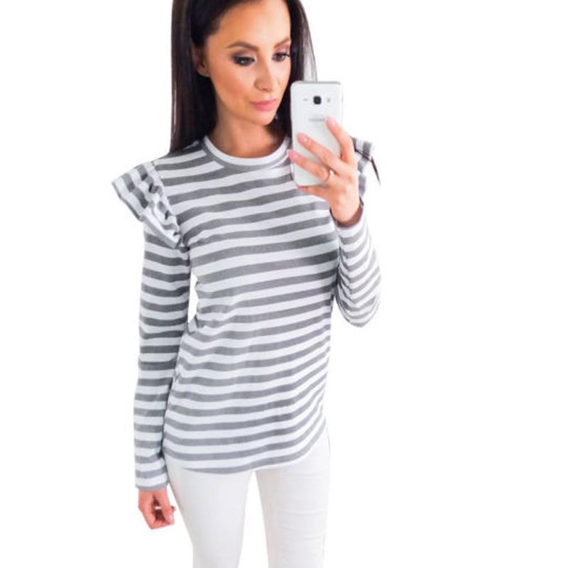 Elegant Ruffles maglietta a strisce dolce delle donne manica lunga casuale allentata Tees signore Tops Estate Autunno T-shirt più il formato