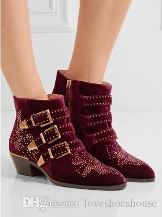 bd2c6a09e973 Charm2019 Pop Susanna Style Velvet Low Heel Zip Rivets Stud Women Ankle  Boots Buckle Decoration Motorcycle Boots Shoes Women Chelsea Boot Mens Chelsea  Boots ...