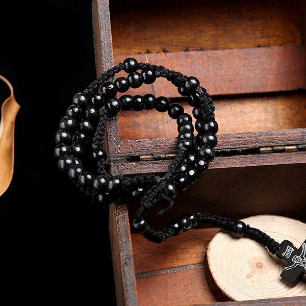 0 5 pulgadas 5 cm Ligera 47 cm 0 Cruz con eslabones Unisex Collares pendientes de madera marrón Nuevo perlas Marrón Negro Rosario 18 19 pulgadas