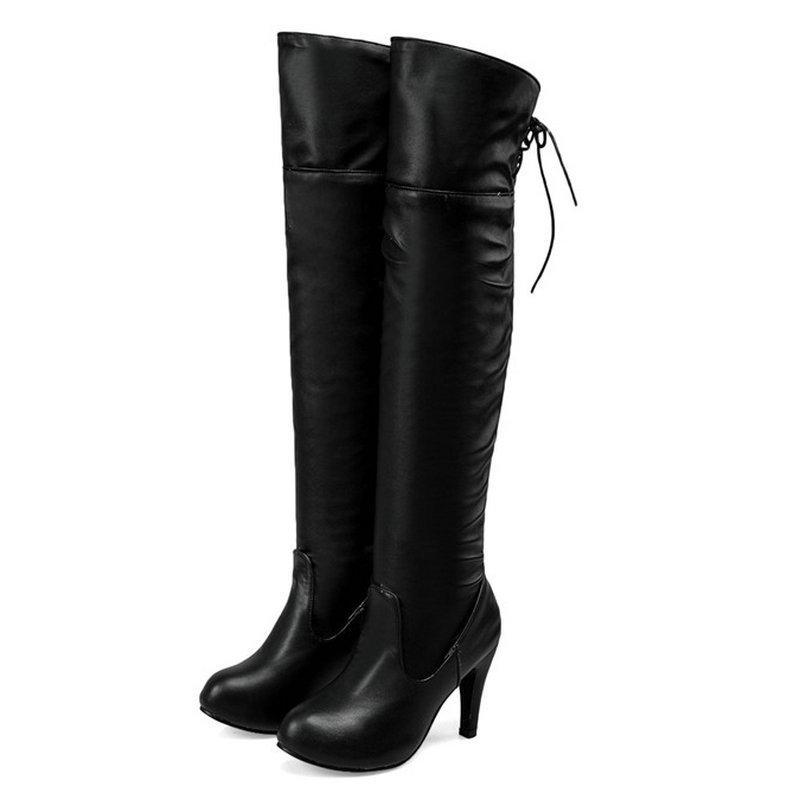 d3b526e2f4d Compre Tamaño 34 43 Mujeres PU Cuero Con Cordones Rodilla Botas Altas Mujer  Zapatos De Los Pies Redondos Zapatos De Señora Witner Zapatos De Tacón Alto  De ...