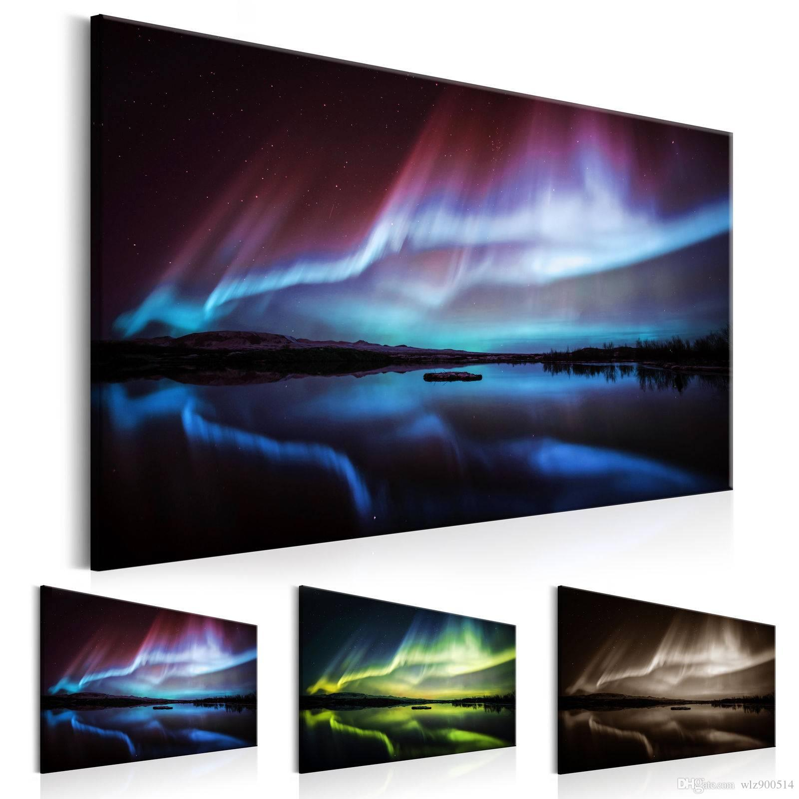 Unframed Modern Wall Decor HD Printed Aurora Borealis Painting on Canvas Home Decoration Print Poster Picture for Living Room
