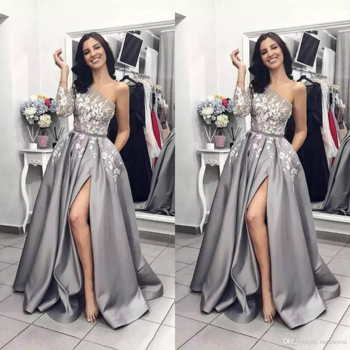 f8d5996ce8a 2019 Silver Grey Slit Prom Dresses One Shoulder Long Sleeve Lace Applique A  Line Women Black Girl Party Evening Wear Pageant Gowns Custom Design A Prom  ...