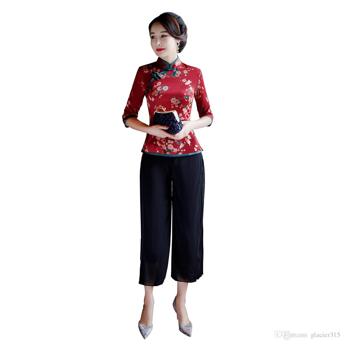 971fd6236 Shanghai Story 2019 New Arrival 3/4 Sleeve Red Cheongsam Top + Pants Set  Chinese Traditional Clothing For Women Qipao Set