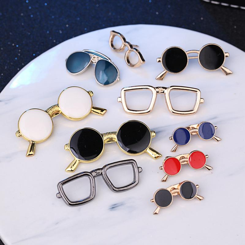 24642a972766 Enamel Sunglasses Model Brooch Personality 2018 Multi Match Pin Men's Suit  Accessories Glossy Glasses Frame Brooch