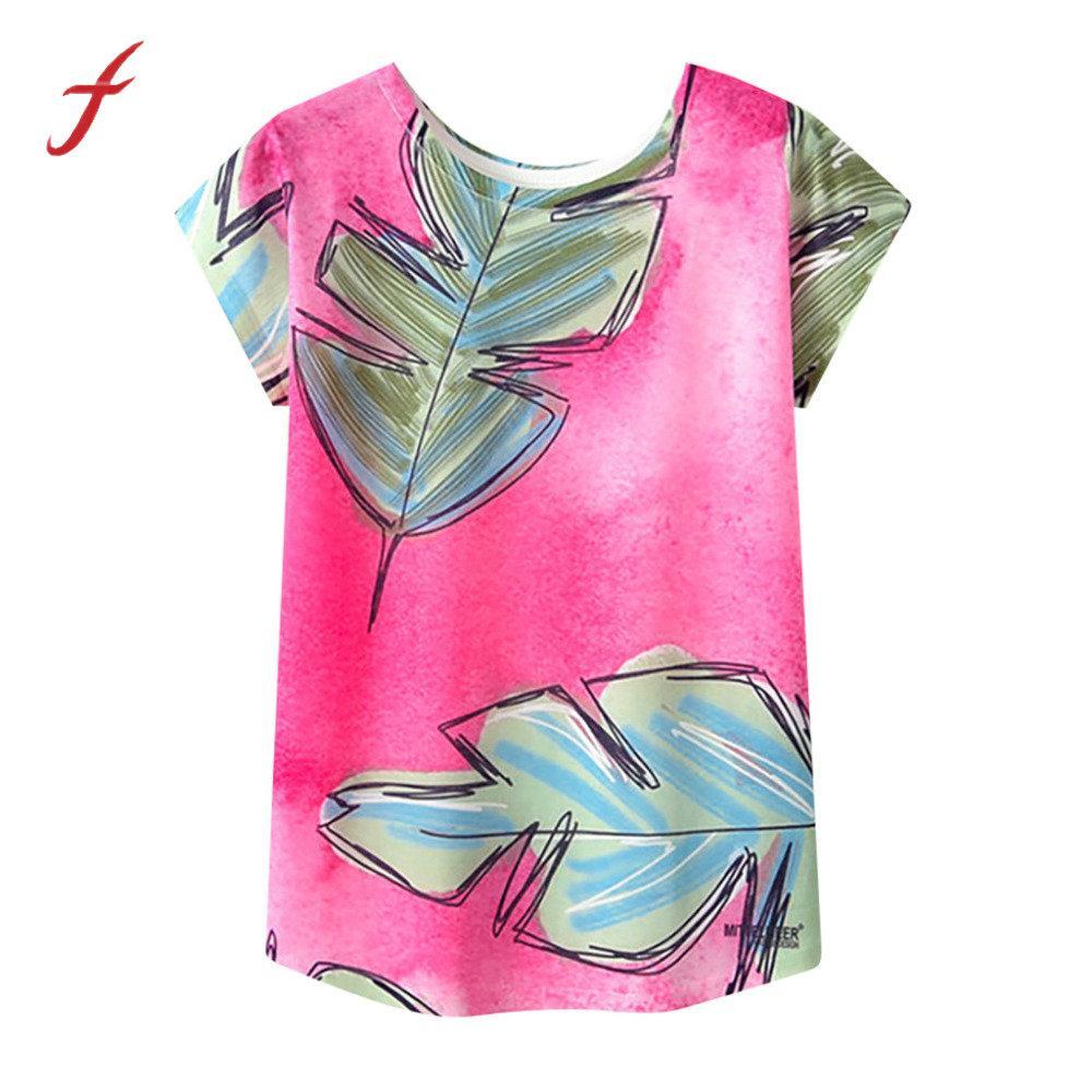 Ample Vogue Femmes 2019 Col Fleurs Printemps Kawaii Mujer Chemise Blusa Manches T À Courtes Élégant Shirt Tunique Rond Femme Été Impression 3jL45RA