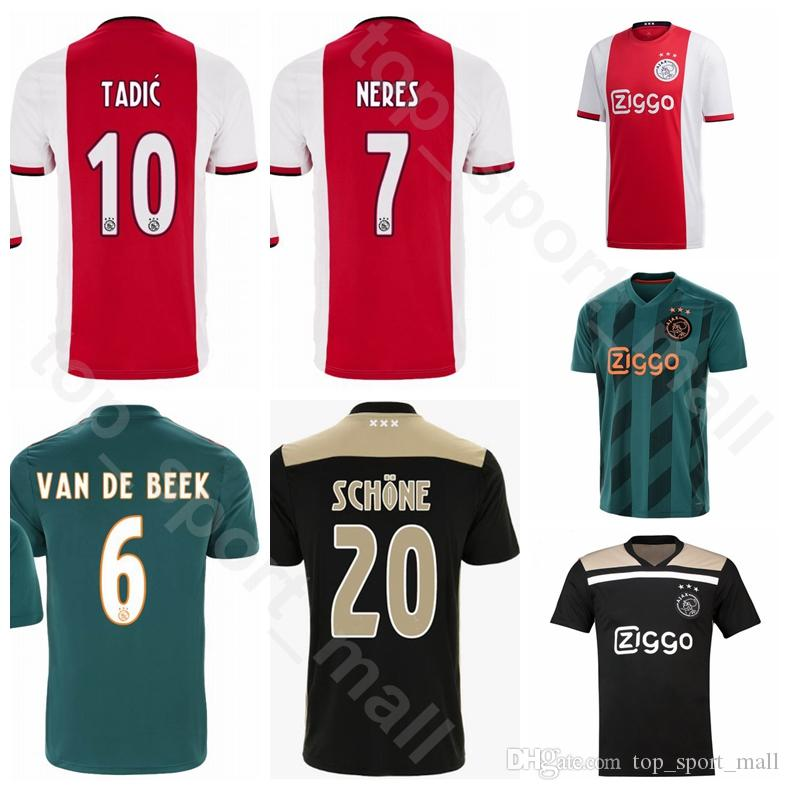 ae97010600d0 Compre AFC Amsterdam Ajax 2019 2020 Futebol 7 NERES Jersey Casa Fora Verde  Vermelho CINZA DE LIGO SCHONE CRUYFF ONANA Camisa De Futebol Kits Uniforme  De ...