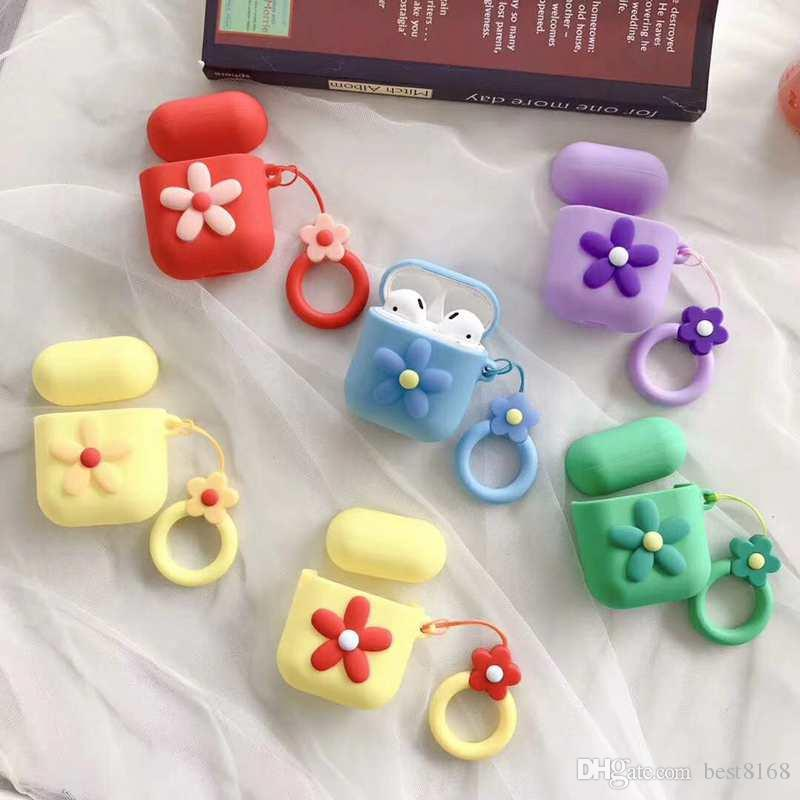Flower Airpod Case Protective Cover Air pod Airpods Fashion Earphone Cases Luxury Soft Silicone Floral Air pods Skin +Lanyard Strap
