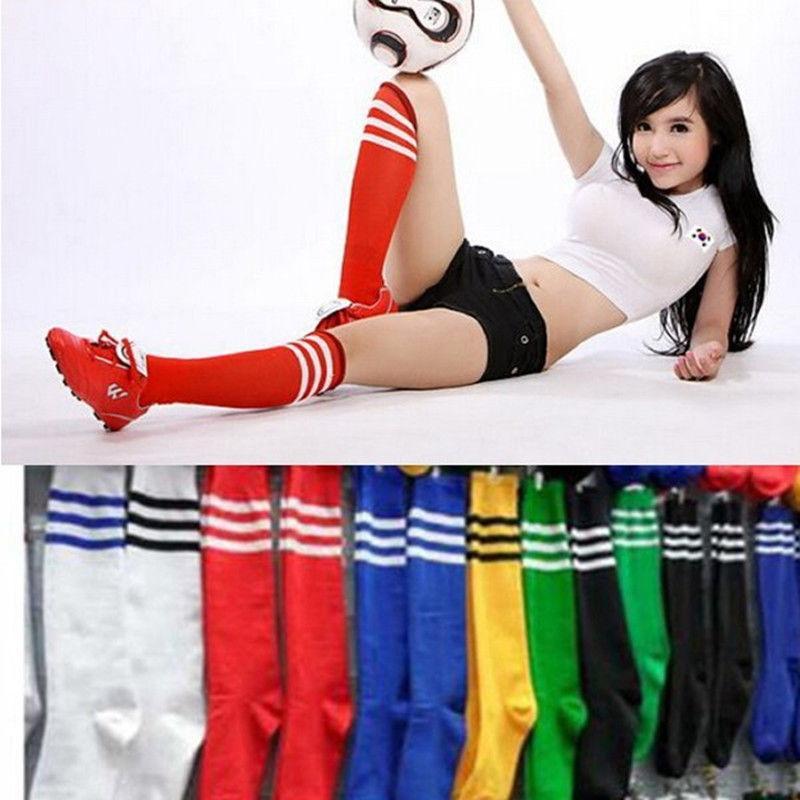Kadın Kız Erkek Futbol Beyzbol Spor Üzeri Diz Ayak bileği Çorap Pamuk Yüksek Sonu Casual Çizgili Stretch çorap