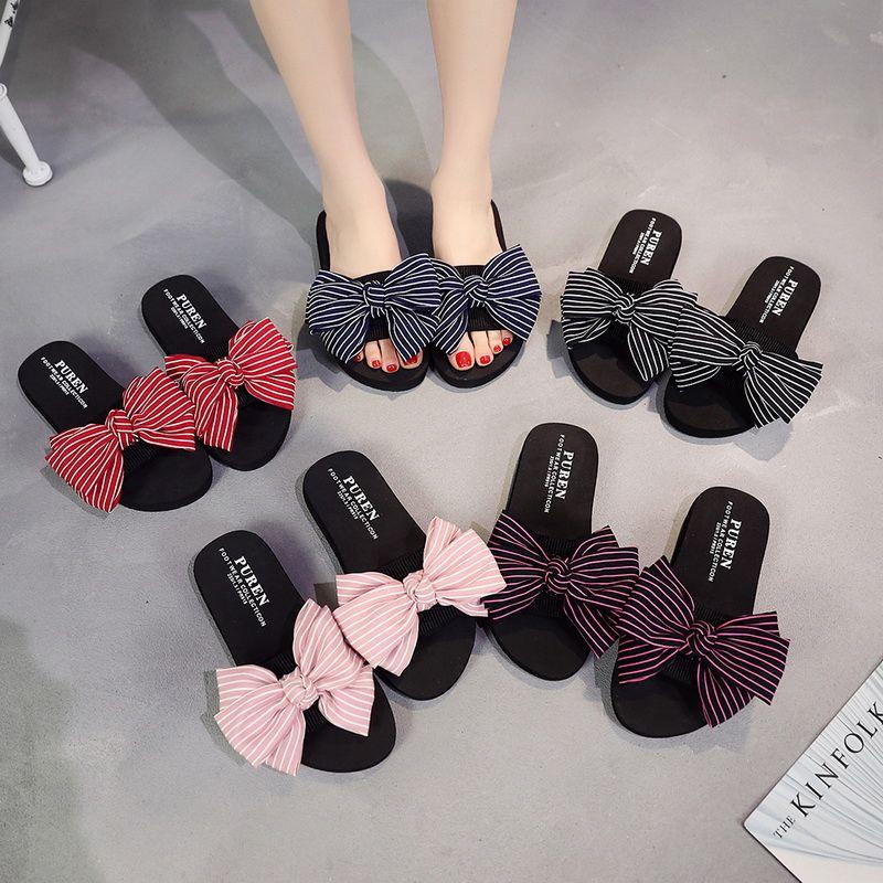 f6e743735418e Women Bow Summer Sandals Slipper Indoor Outdoor Flip-flops Beach ...