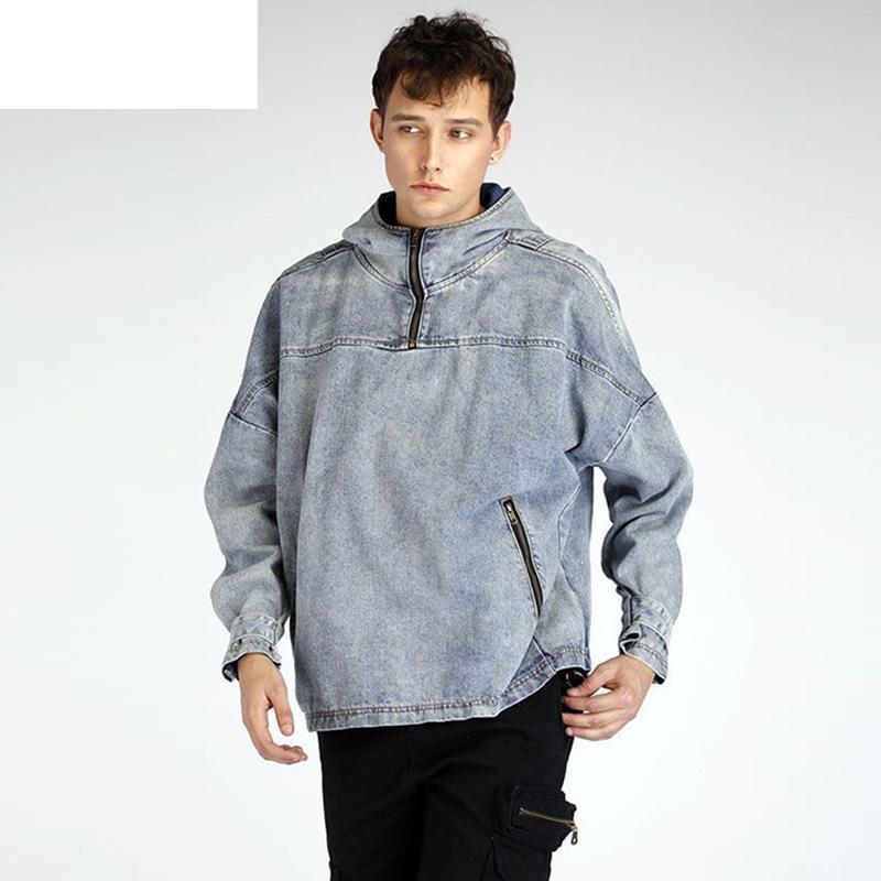 Acquista Vintage Pullover Denim Giacche Uomo Streetwear Hip Hop Casual  Cappotto Denim Cappotto Jeans Jeans Allentati Giacca Blu Ws124 A  77.64 Dal  Yolkice ... 6cdd27f3078