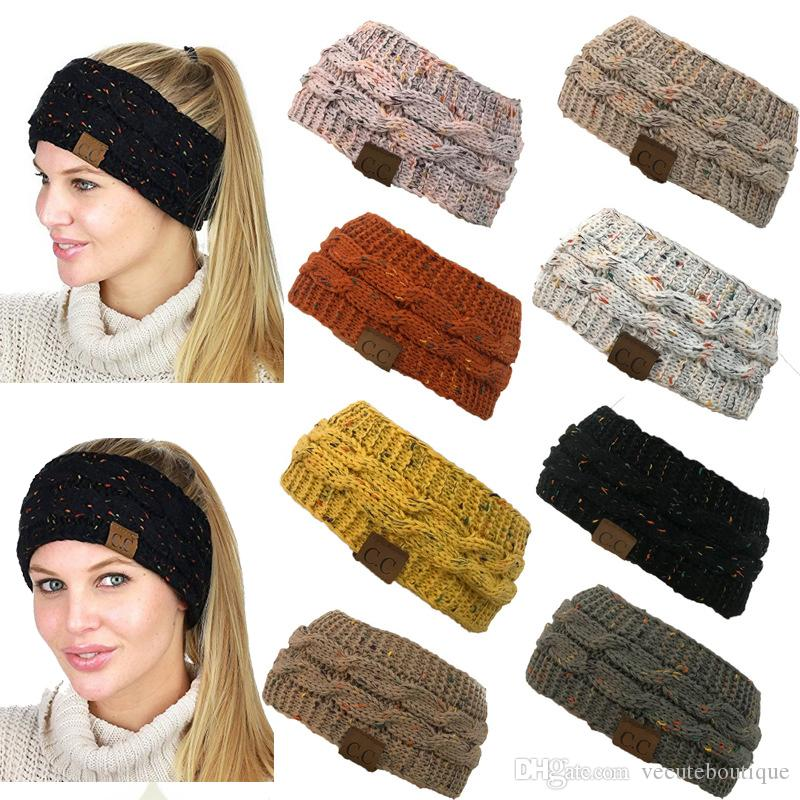 defbfd719e6 2019 Fashion Winter Popular CC Headbands Headwrap Hat Cap Black Colorful  Confetti Cable Knitted Ear Warmer Head Wrap For Women Wholesale From  Vecuteboutique ...