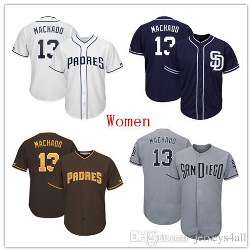 brand new 9df19 aa689 Womens San Diego Padres 13 Manny Machado Baseball Jersey Navy Blue Brown  White Gray Grey Green Salute Players Weekend All Star Team Logo