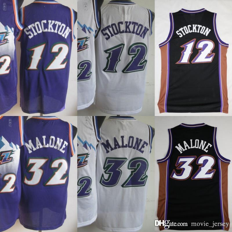 quality design 671a4 1dc5c Utah Basketball 12 John Stockton Jazzs Jerseys Men Purple White Color #32  Karl Malone Jersey Vintage Uniforms All Stitched High Quality