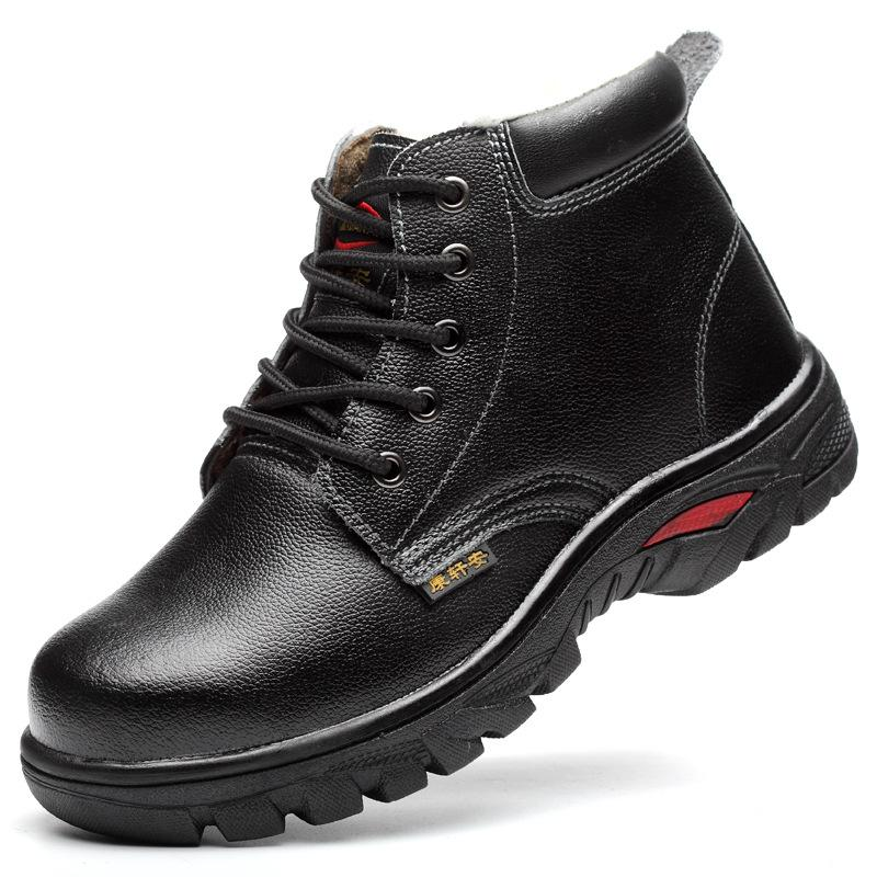 7dde77557 big size mens fashion steel head working safety cotton shoes warm plush  shoe anti-puncture ankle fur winter snow boots security