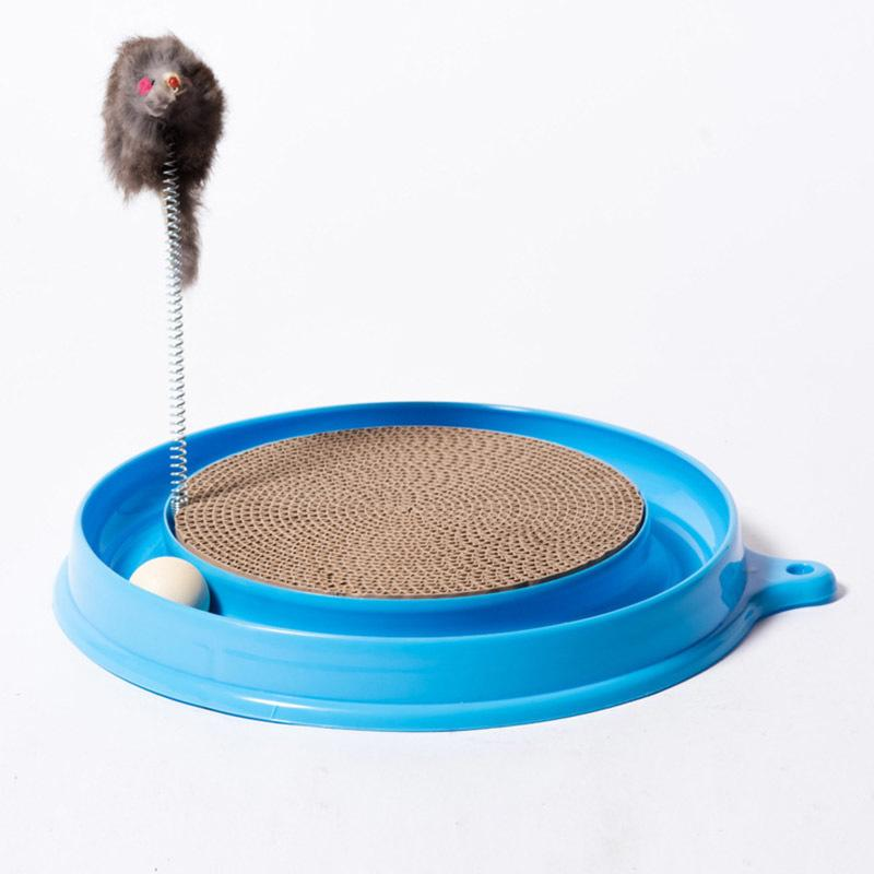 Cat Kitten Turbo Scratcher Scratching Pad Board Toy With Ball Mouse Training Play Fun Supplies E2s Q190523