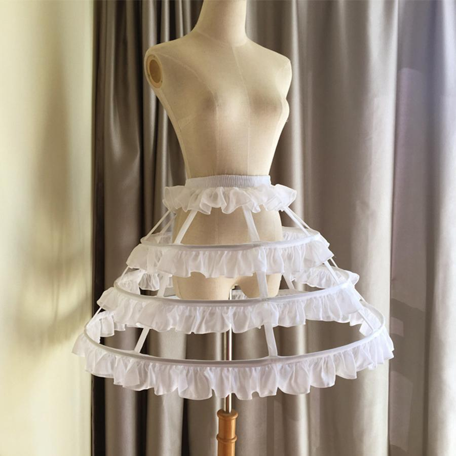 wholesale Lolita Short Petticoat Underskirt 45 CM Length Birdcage 3 Layers Hoop Ruffle Woman Wedding Gift Casual