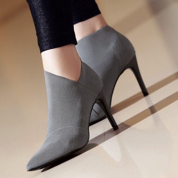 1b1db1d6d2 Compre Saltos Baixos Mulheres Sapatos De Inverno Stilettos Pums ...