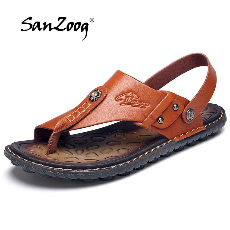 c529136ccea5dc 2018 Brand Summer Beach Flip Flops Men Pu Leather Slippers Male Flats  Sandals Outdoor Rubber Beach Shoes Men Leather New Brown Wedges Gold Wedges  From ...