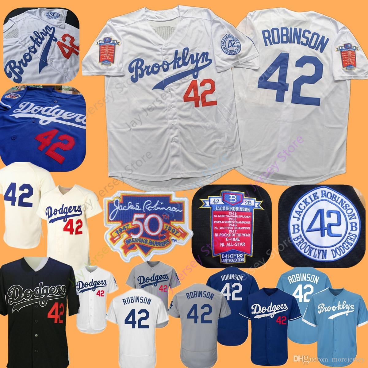 official photos 1663f 49d7c New Brooklyn Dodgers Jackie Robinson Jersey with 50th Patch Home Away All  Stitched Black Baby Blue White Men Women Youth Stitched