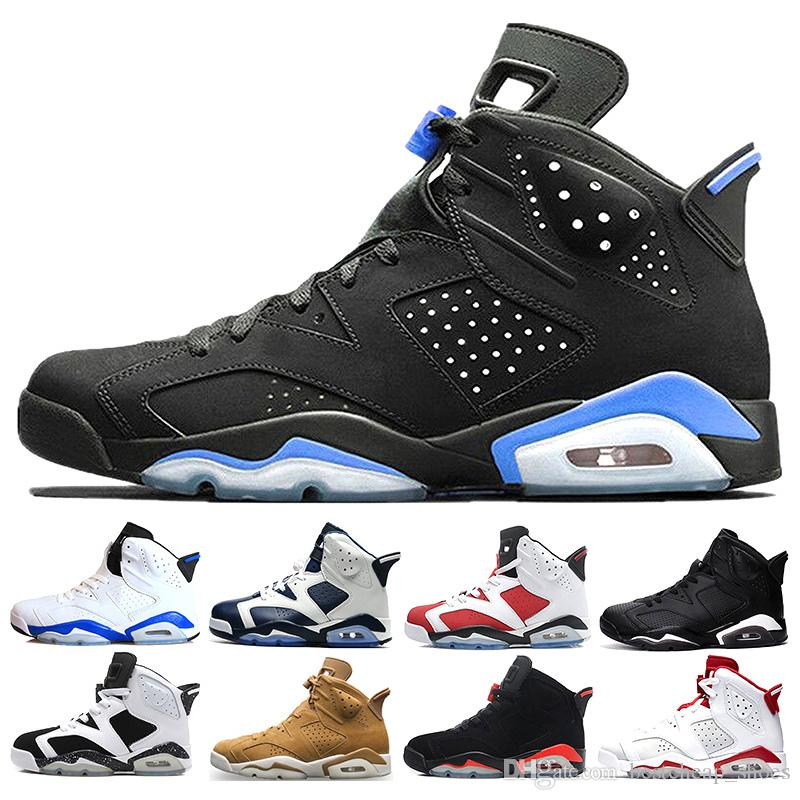 plus récent 06c58 07aa0 Nike Air Jordan jordans retro 6 Pas cher 6 6s Hommes Chaussures De  Basket-ball homme unc Black Cat Infrared sport bleu Marron Olympique  Alternatif ...