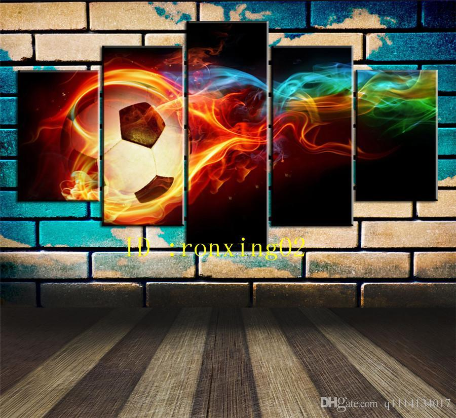 Cool Soccer Ball,5 Pieces Home Decor HD Printed Modern Art Painting on Canvas (Unframed/Framed)