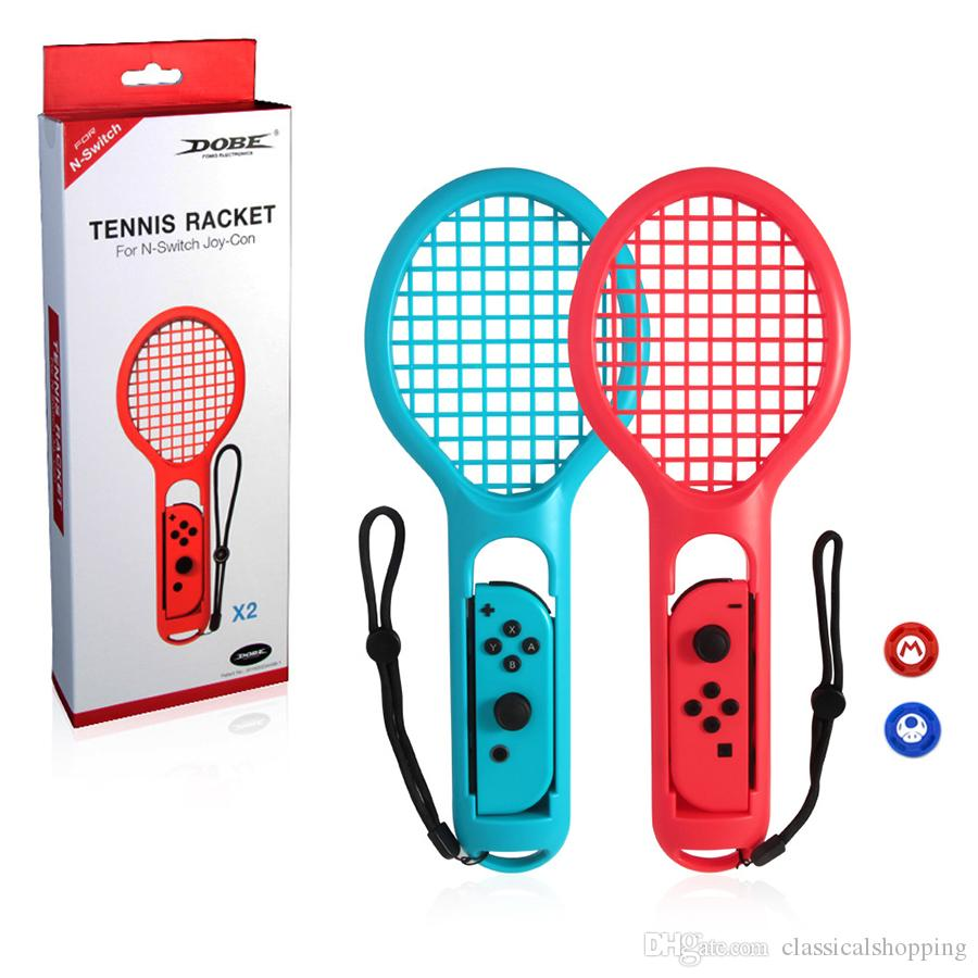 409384dc32 Compre 1 Par Nintend Switch Mario Joy Con ABS Raqueta De Tenis Manija Para  Nintendo Switch NS Tennis ACES Game Player Con 2 Tapas Analógicas A $15.08  Del ...