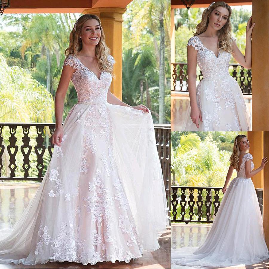 29fffd1dc38 Discount Tulle V Neck Neckline 2 In 1 Wedding Dresses With Lace Appliques   Amp  Beadings Two Pieces Bridal Dress With Detachable Skirt Long Sleeve  Wedding ...