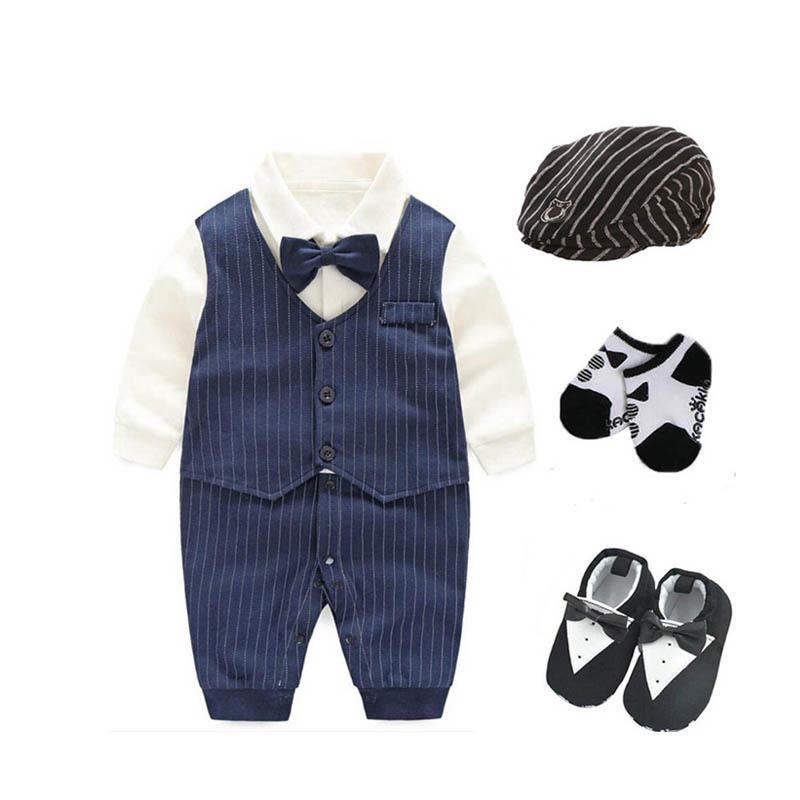 Traje de esmoquin del banquete de boda de los bebés recién nacidos 0-18 meses del bebé Body + hat + socks + shoes Outfits Set Gentleman Baby Shower Regalo J190525