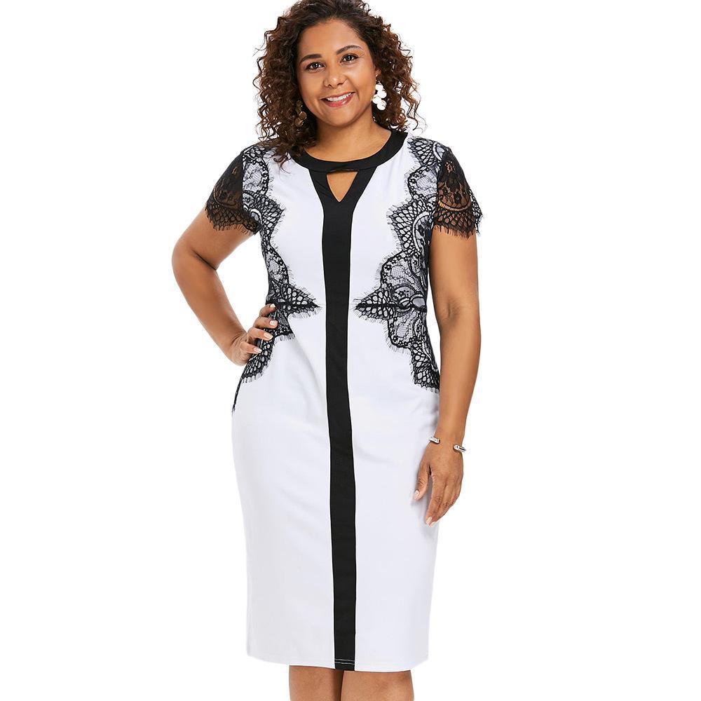 b6dd5a525574 Compre Wipalo Plus Size Lace Insert Bodycon Dress Mulheres Verão Partido  Black Dress Sexy Fechadura Neck Mangas Curtas Dress Feminino Vestidos  Y19051001 De ...