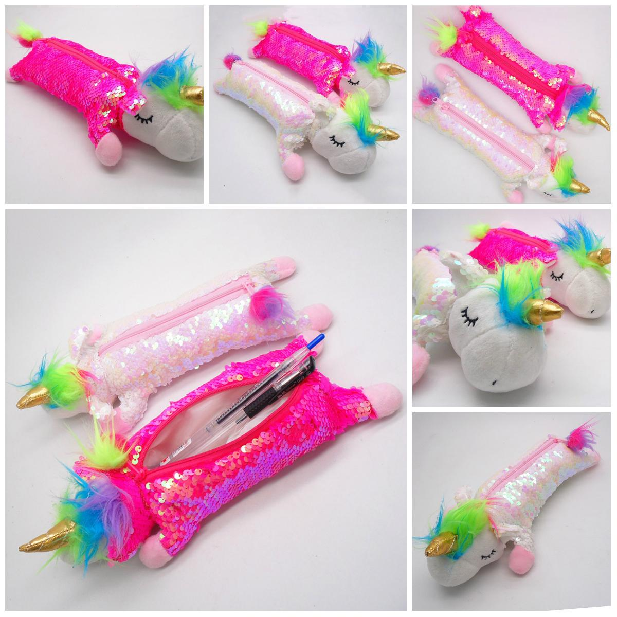 New Cartoon sequined unicorn stationery bag two-sided plush cosmetics container travel portable pencil box pen box 2 styles T3I5327