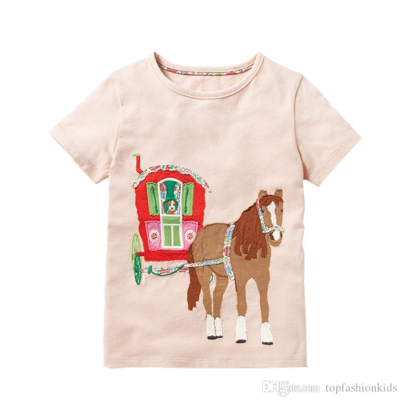 036f1dbcc 6 Pack Baby Girls Unicorn Rainbow Appliques T-shirt Kids Clothes 2019 Brand  Cotton Children Cartoon Printed shirts Summer Girls Tops & Tees
