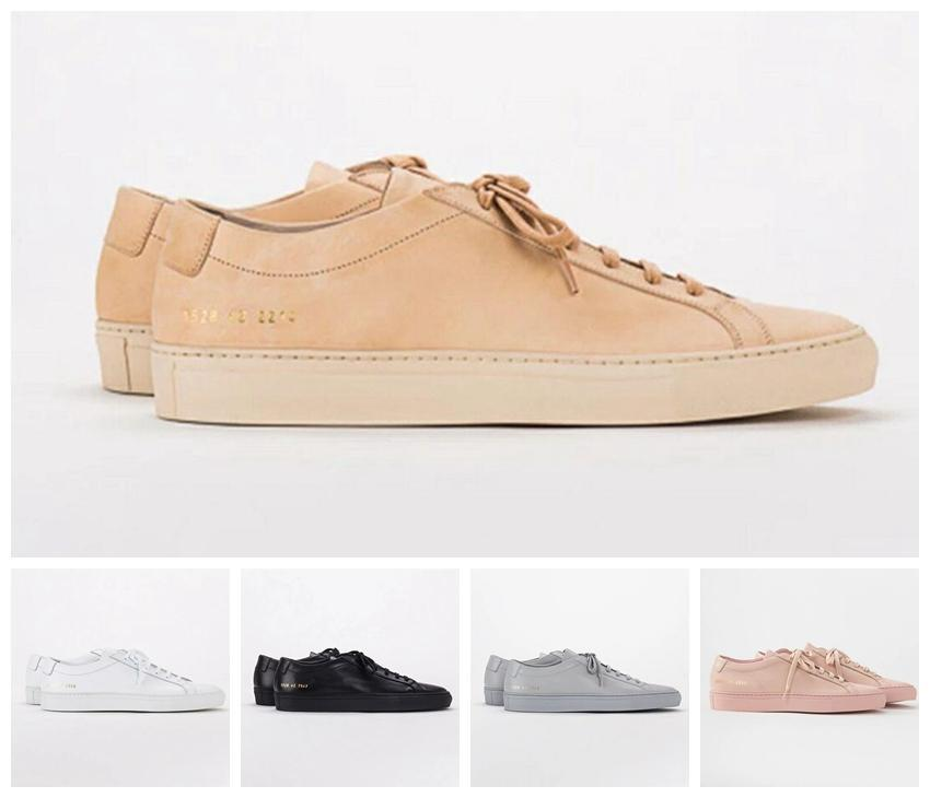 2019 Common Projects by women Black white low top Shoes Men Women Genuine Leather Casual Shoes flats Chaussure Femme Homme 14.