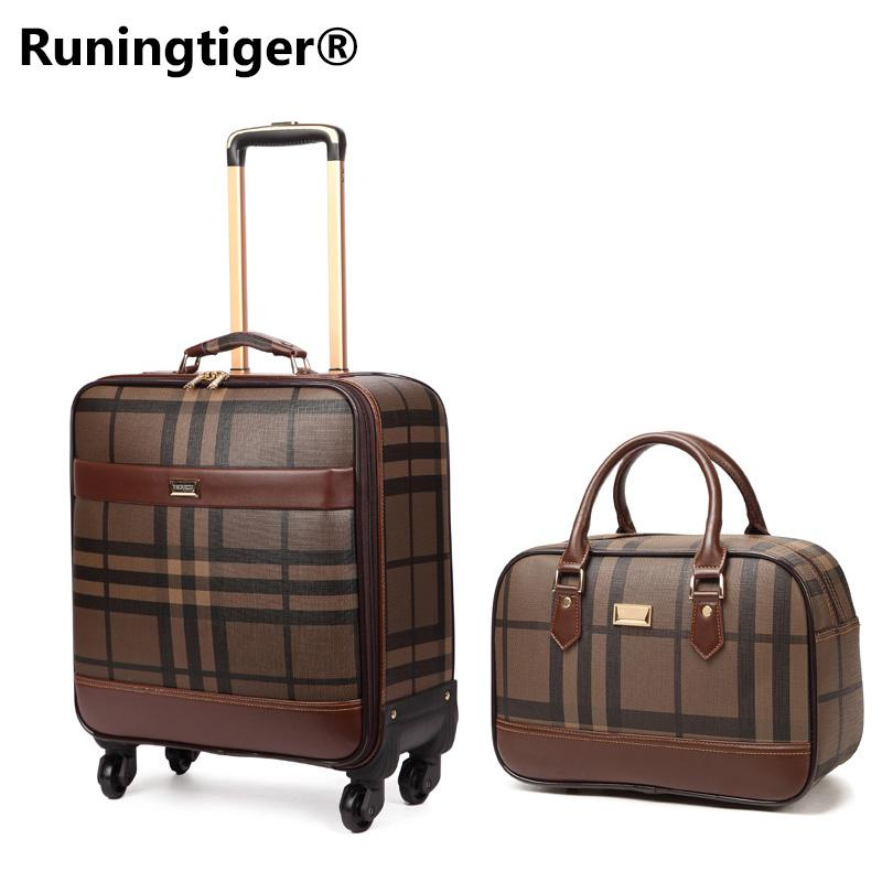 af41bc56c Luxury Men Women 's Travel Luggage Set Suitcase ,Waterproof PVC leather Box  with Wheel ,16