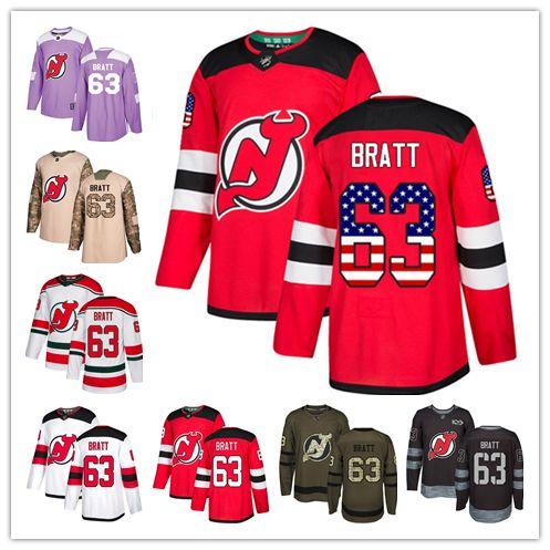 2019 New Jersey Devil Jerseys  63 Jesper Bratt Jersey Hockey Men Women  Youth Red Home White Away USA FLAG Premier Alternate Stitched Jerseys From  Wk1403 1ac482b54