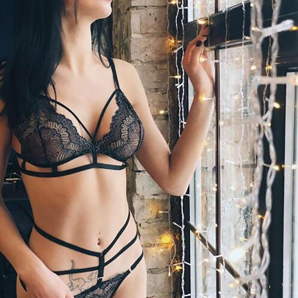 f9ead9f8ee Sexy Lace Bra Set Lingerie Set Two Piece 2018 Women Transparent Across Bra  High Waist G String Underwear Suit UK 2019 From Chongyangclothes002