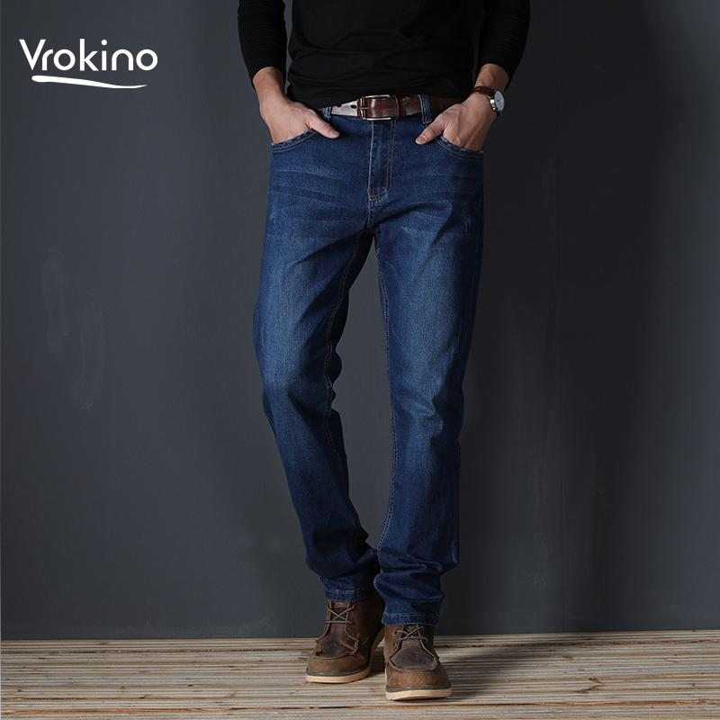 2019 New Spring Autumn Mens Mid Weight Jeans Straight Fit Elastic Cotton Trousers Male Jeans Pants Brand Clothes Plus Size 40 For Fast Shipping Men's Clothing
