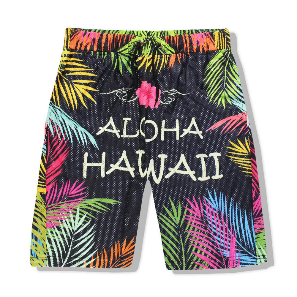 fashionMale Style Sports Pants Net Eye Speed Dry Man Underpants 3d Shorts In Pants Hawaii Seaside Punching Wave