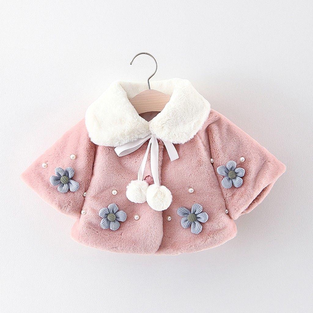 3a045b870432 Baby Infant Girl Autumn Winter Jacket Coat 2018 Flower Kids Warm ...