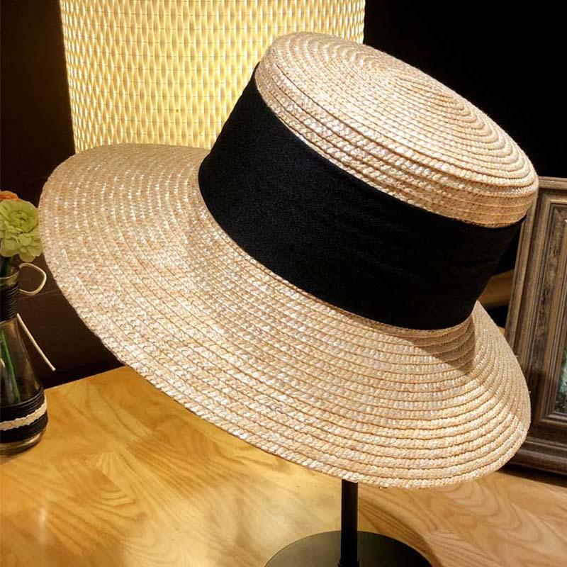 8466324cf74c6 New Classical Ribbon Women Wheat Straw Hats 10cm Wide Brim Summer Fedora  Beach Hat Ladies Floppy Sun Cap UPF50+ Fedora Hats For Men Cowgirl Hats  From Xiacao ...