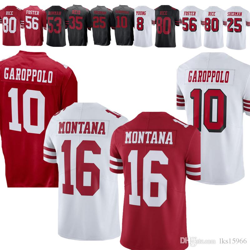 official photos d0c95 91bb0 2019 San Francisco 49er jerseys 10 Jimmy Garoppolo Jerseys 16 Joe Montana  Jerseys 69 Mike McGlinchey 56 Reuben Foster 80 Jerr