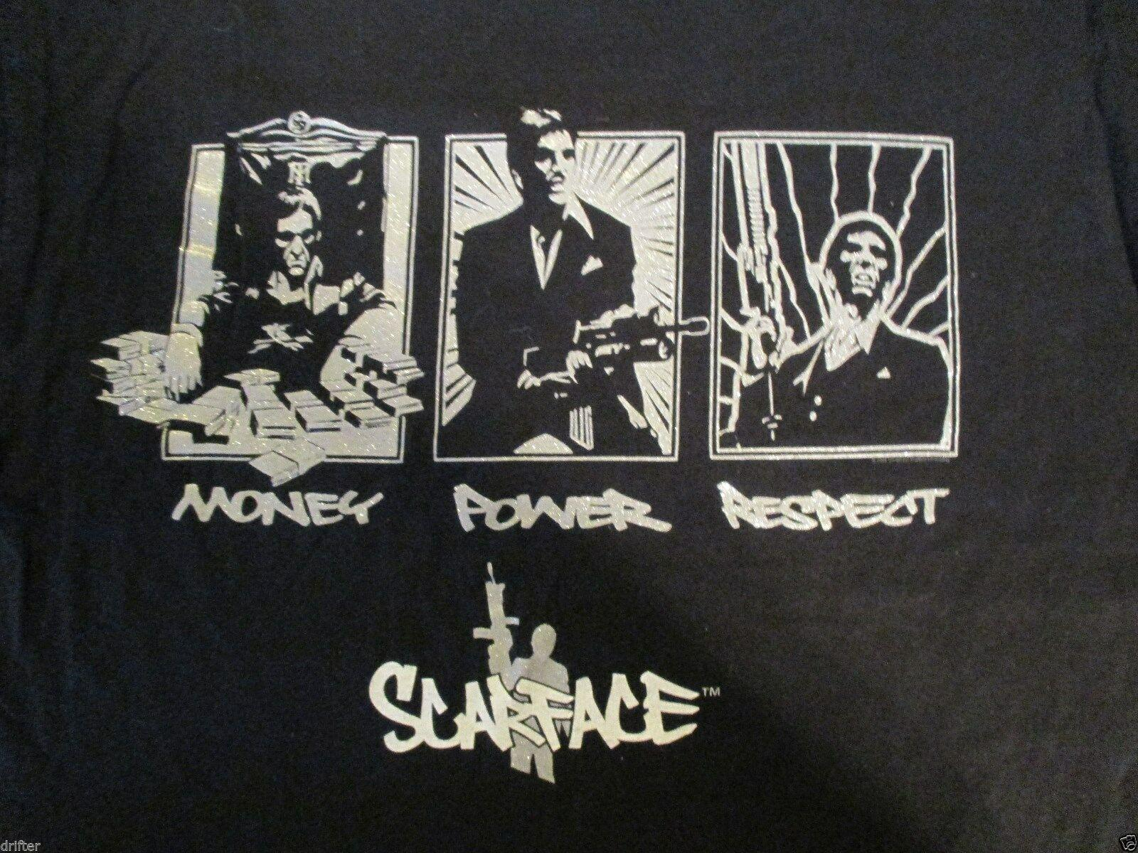 Scarface Money Power Respect T Shirt Taglia L Uomo Donna Unisex Fashion tshirt Spedizione gratuita nero