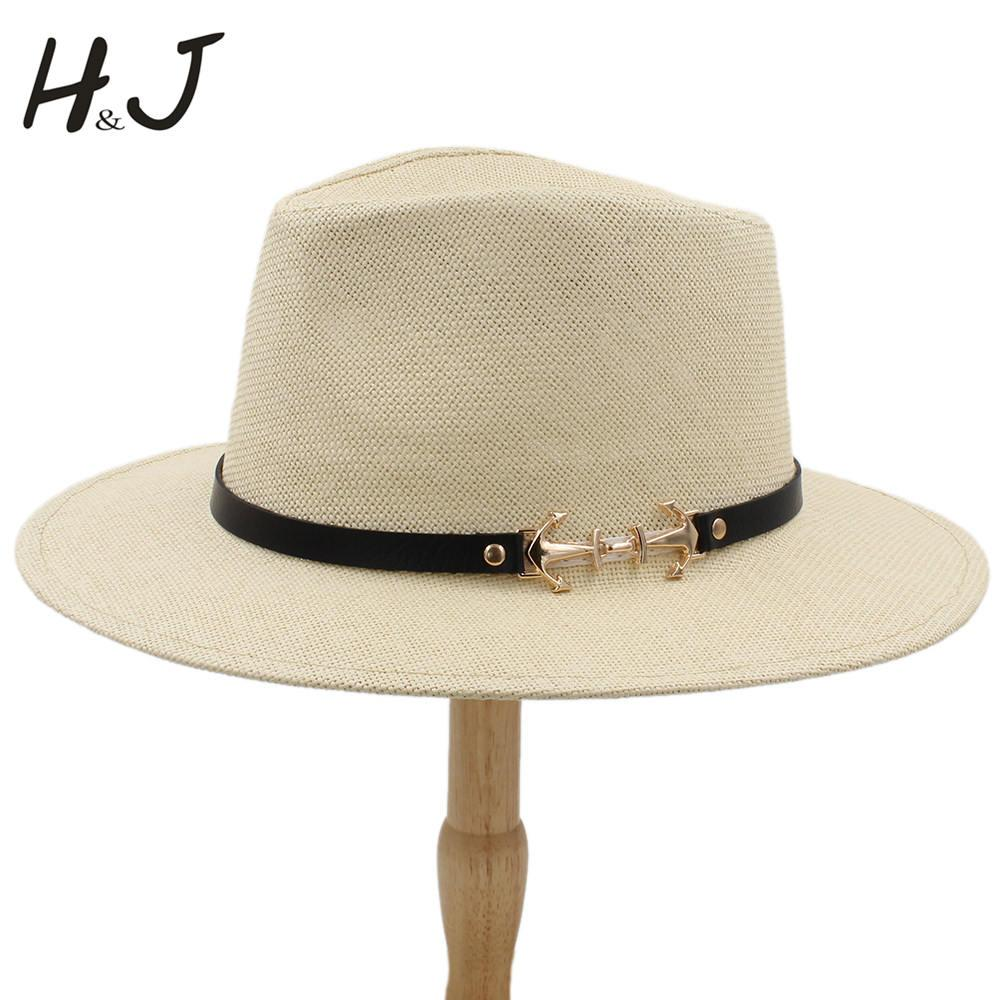 7cd33fb3f 2019 100% Straw Women Men Sun Hat With Wide Brim Panama Hat Handmade Beach  Sunbonnet Jazz Size 56-58CM A0152-XSJ