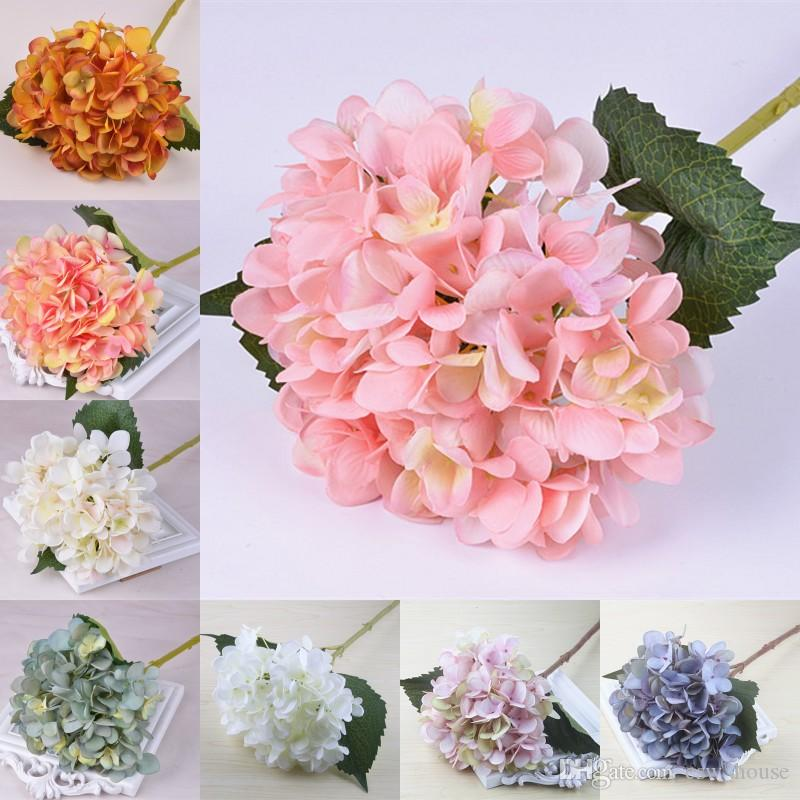 47cm Artificial Hydrangea Flower Head Fake Silk Single Real Touch Hydrangeas Wedding Centerpieces Home Party Decorative Flowers