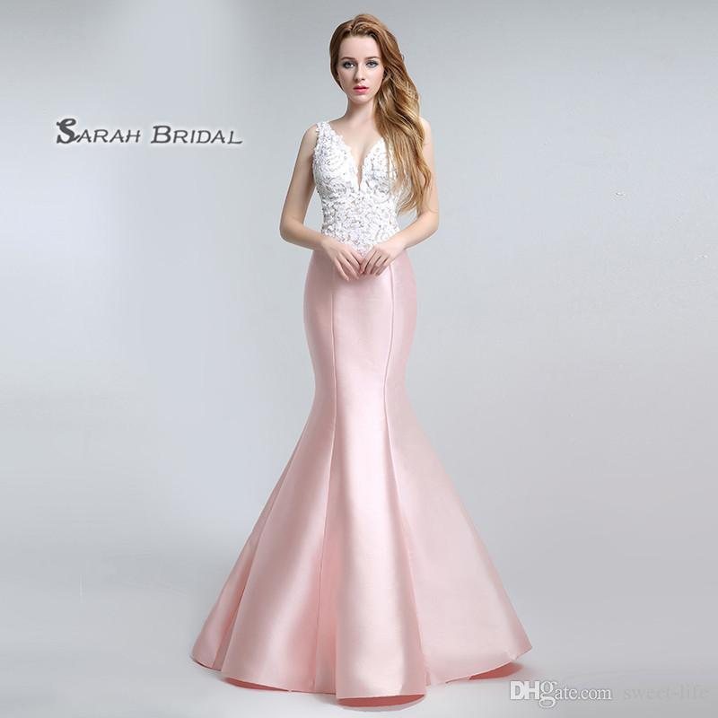 2019 Long Mermaid Satin Pearls Backless Prom Dresses Floor Length Beaded Sexy Evening Backless Party Gowns LX151