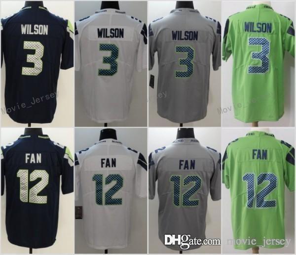 super popular 6ddfa 70719 3 Russell Wilson Jersey 12th Fan Seattle Seahawks Football Jerseys Men  Women Youth Navy Green Grey White