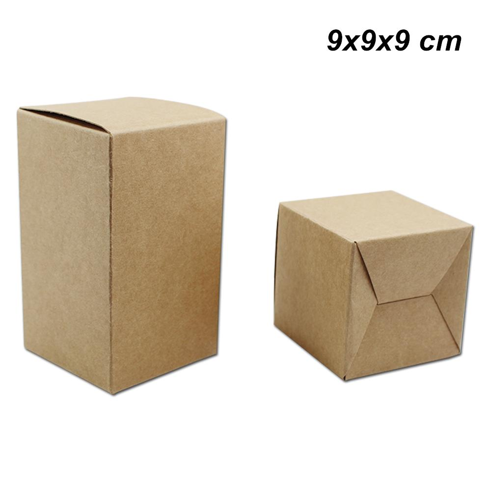 391f50cc8a5b8 15pcs/lot 9x9x9 cm Brown Party Favors Paper Folding Box Gifts Storage  Jewellery Box Kraft Paperboard Boxes For Chocolate Candy Packing Boxes