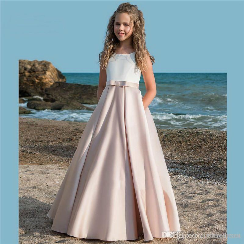 d57989821 2019 Floor Length Little Girls Pageant Dresses Square Neckline Lace  Appliques Bow Sash Satin Formal Kids Birthday Prom Party Gowns Girls Dresses  For Special ...